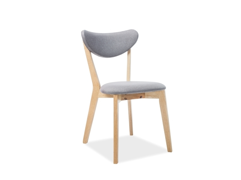 Scaun din lemn tapitat cu stofa Brando Gri / Stejar, l45xA40xH76 cm