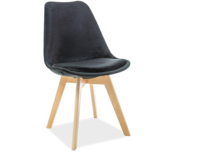 Scaun din lemn, tapitat cu stofa Dior Velvet Negru / Fag, l52xA48xH86 cm imagine