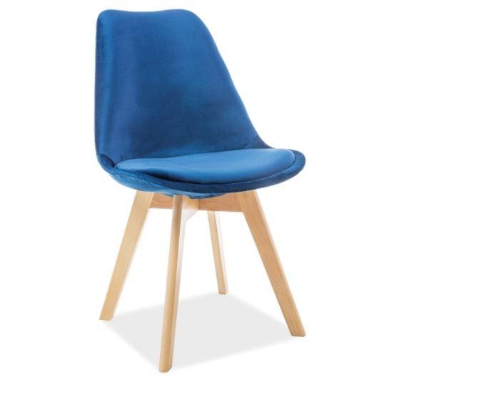 Scaun din lemn, tapitat cu stofa Dior Velvet Dark Blue / Beech, l52xA48xH86 cm