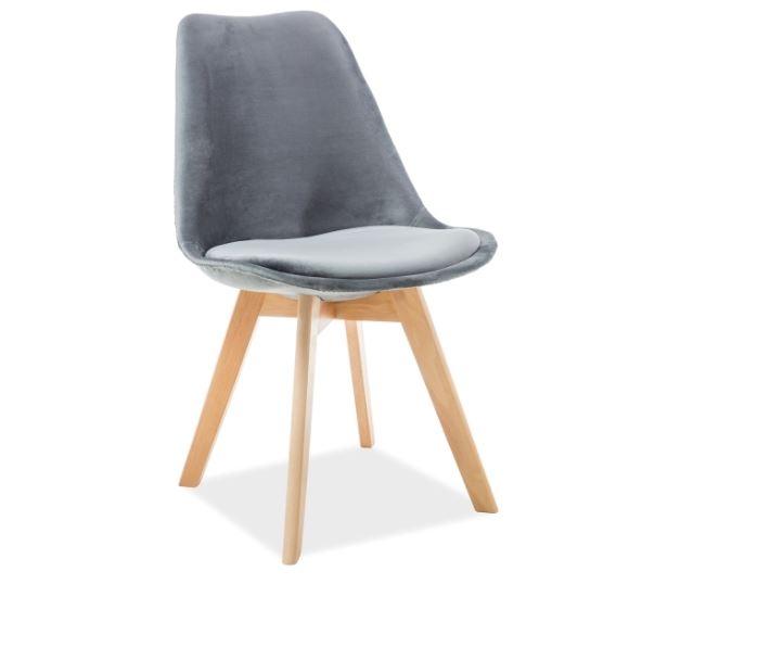 Scaun din lemn tapitat cu stofa Dior Velvet Grey / Beech l52xA48xH86 cm