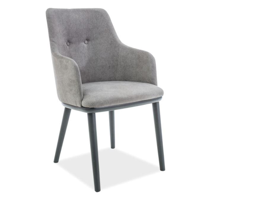 Scaun din lemn tapitat cu stofa Flip Grey / Graphite l52xA48xH86 cm
