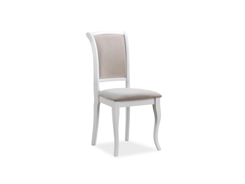 Scaun din lemn tapitat cu stofa MN-SC White / Beige, l45xA42xH96 cm
