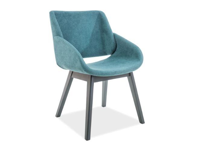 Scaun din lemn tapitat cu stofa Nest Turquoise / Graphite l52xA45xH82 cm
