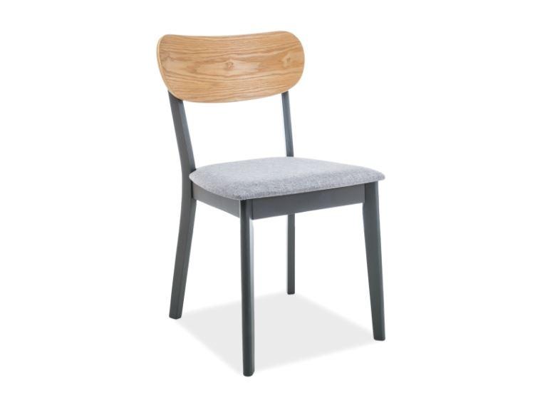 Scaun din lemn tapitat cu stofa Vitro Grey / Graphite l45xA41xH78 cm