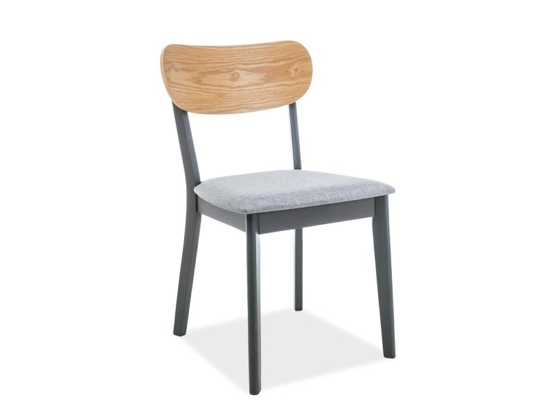 Scaun din lemn, tapitat cu stofa Vitro Gri / Grafit, l45xA41xH78 cm
