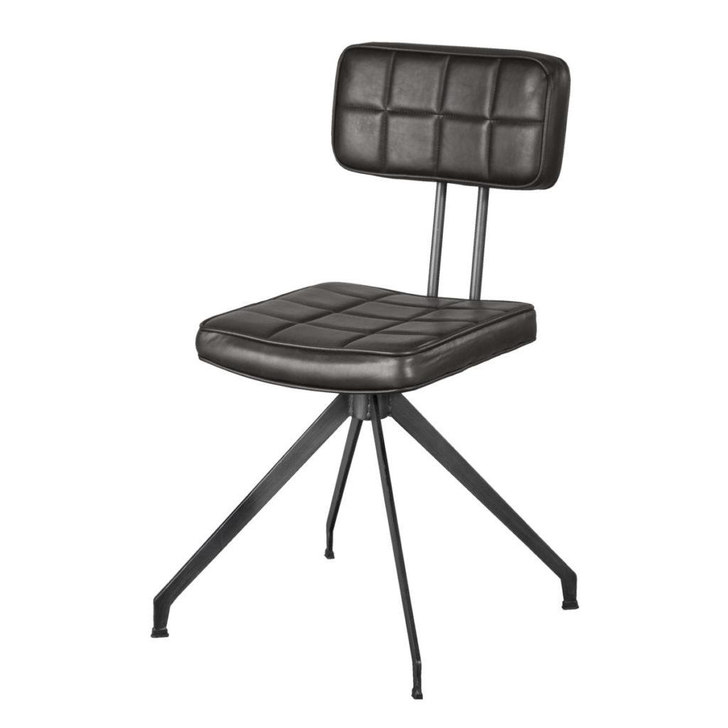 Scaun tapitat cu piele ecologica, cu picioare metalice Ashton D03 Brown, l56xA50xH89 cm