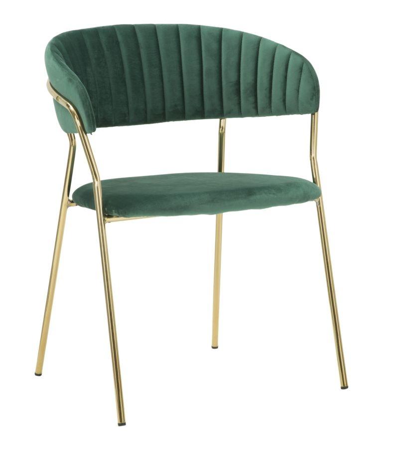 Scaun tapitat cu stofa, cu picioare metalice Ring Verde / Auriu, l58xA55xH76 cm