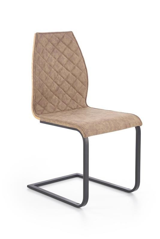 Scaun din pal tapitat cu piele ecologica, cu picioare metalice K265 Brown / Honey Oak, l43xA58xH94 cm imagine