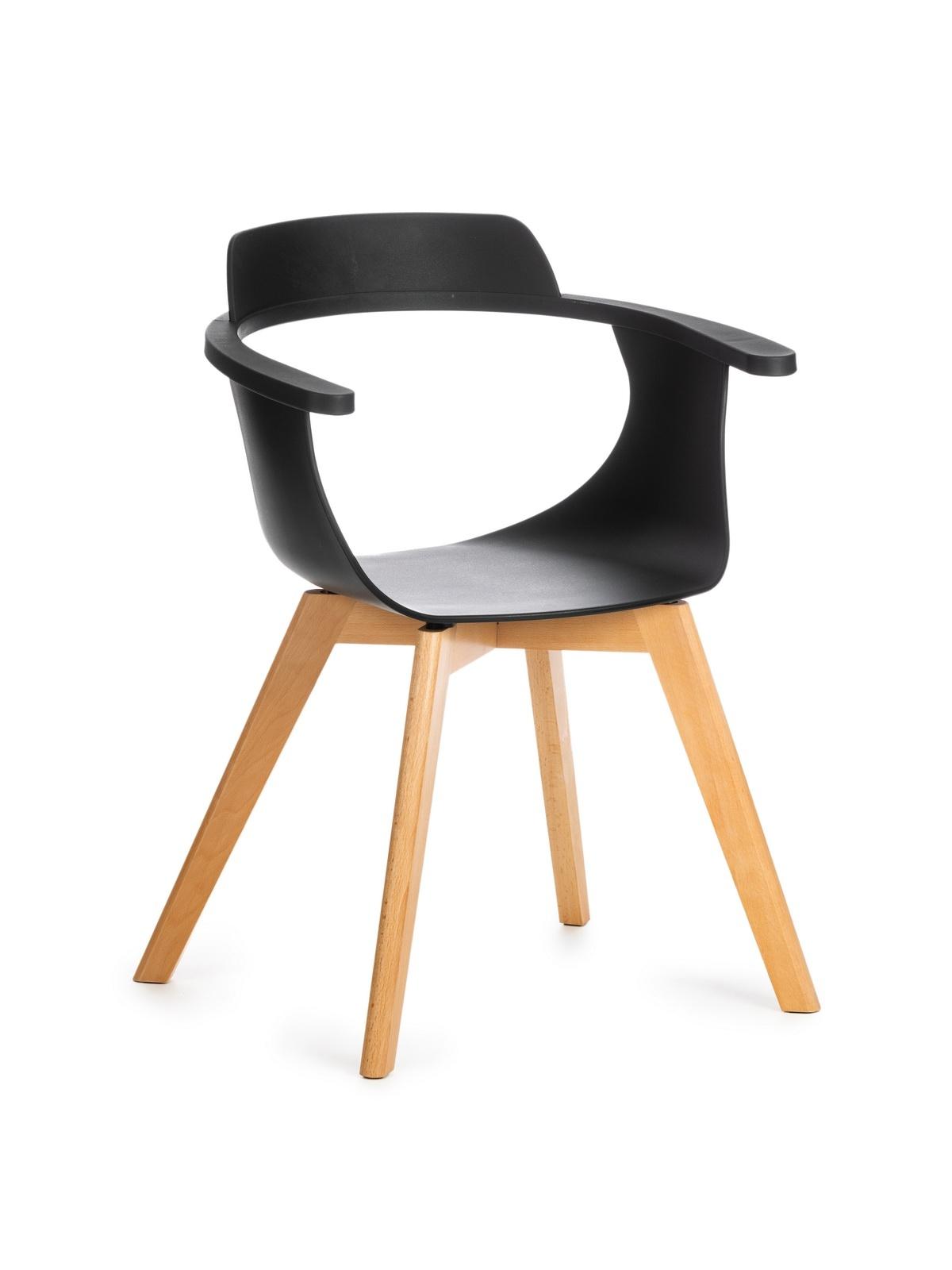 Scaun din plastic cu picioare de lemn Alan Black, l51xA60xH80 cm
