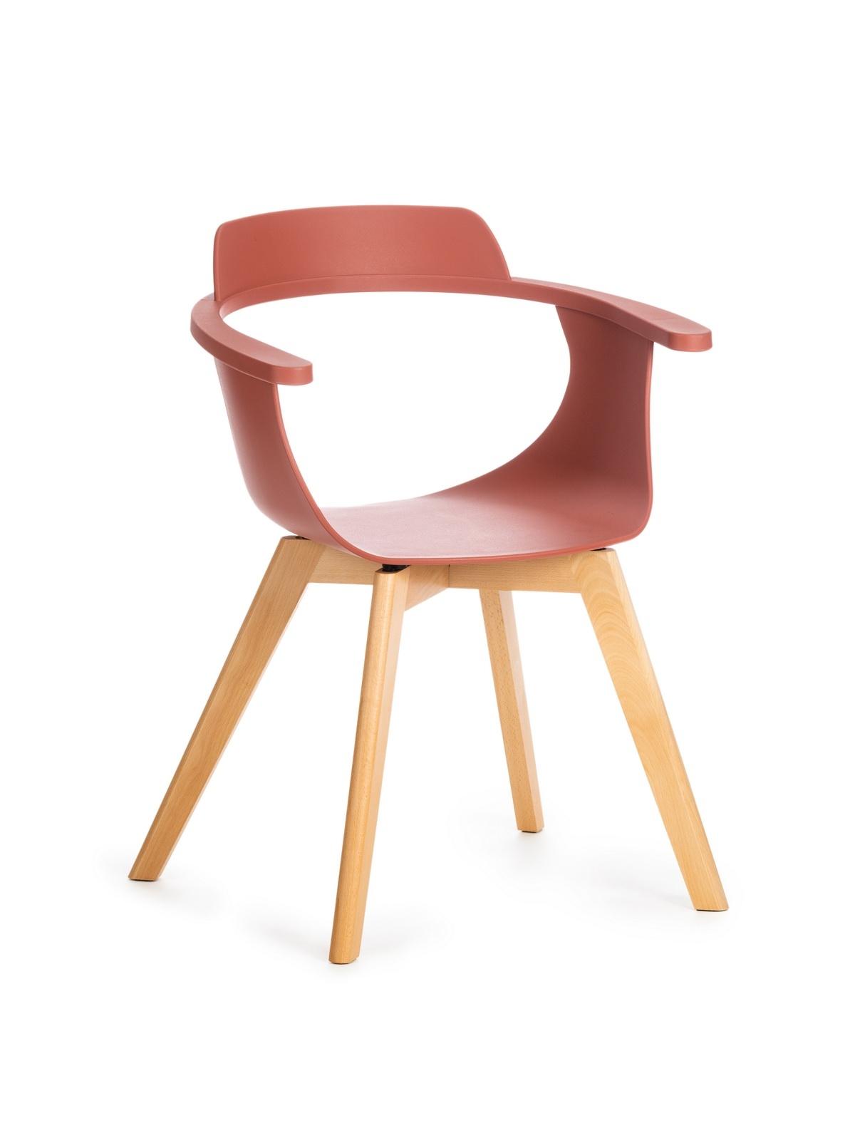 Scaun din plastic cu picioare de lemn Alan Caramiziu, l51xA60xH80 cm somproduct.ro
