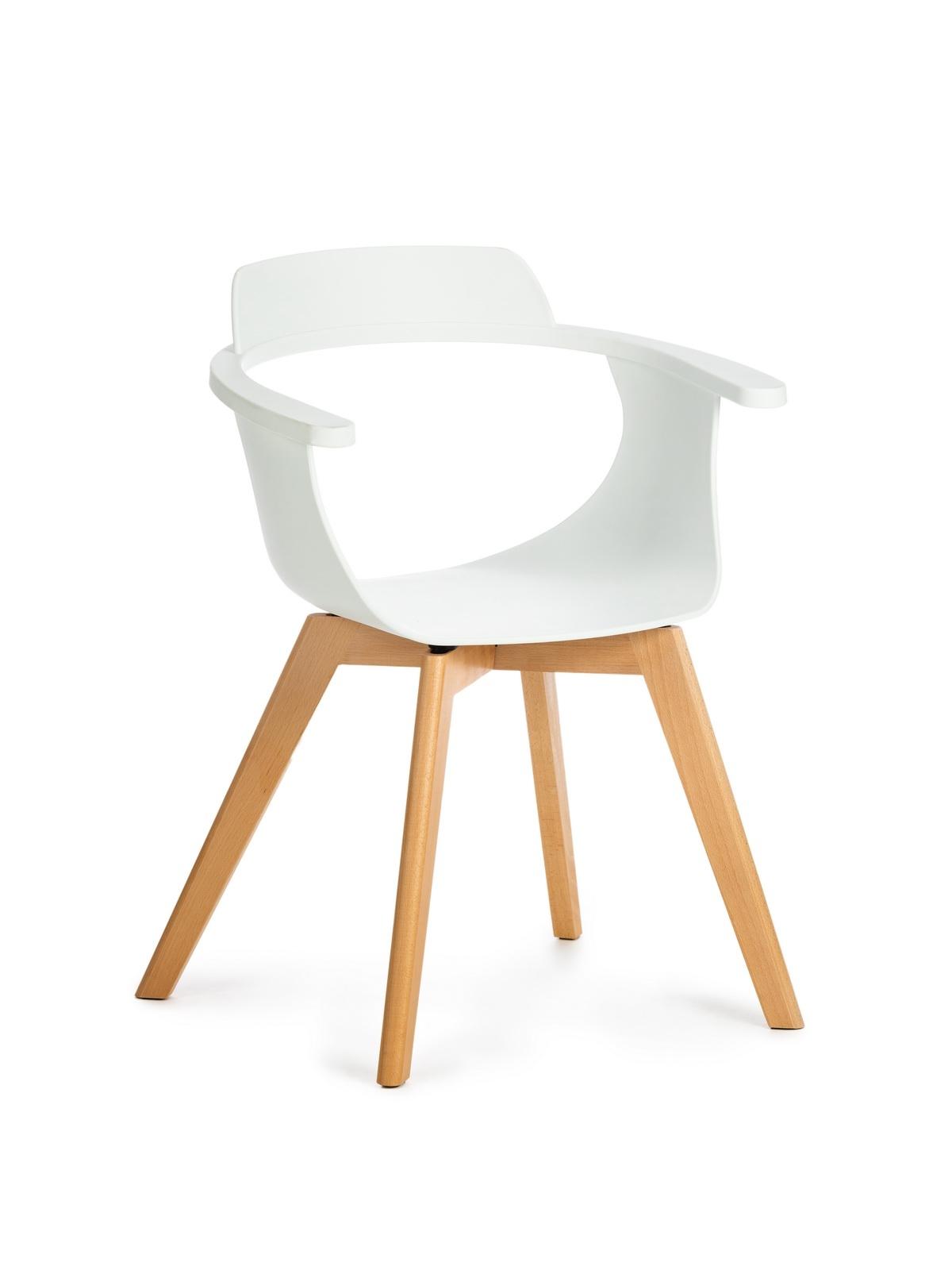Scaun din plastic cu picioare de lemn Alan White, l51xA60xH80 cm imagine