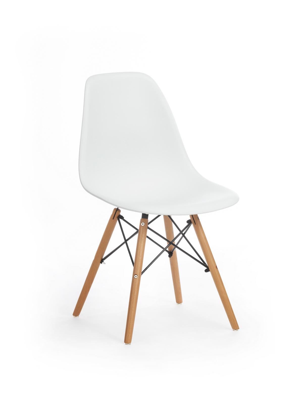 Scaun din plastic cu picioare de lemn Dante White, l48xA46xH82 cm