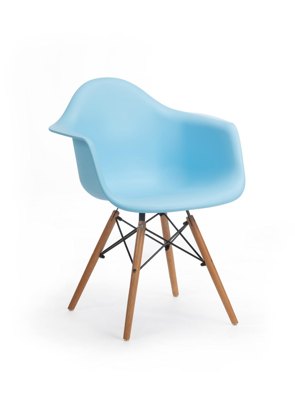 Scaun din plastic cu picioare de lemn Echo Blue, l64xA60xH81 cm