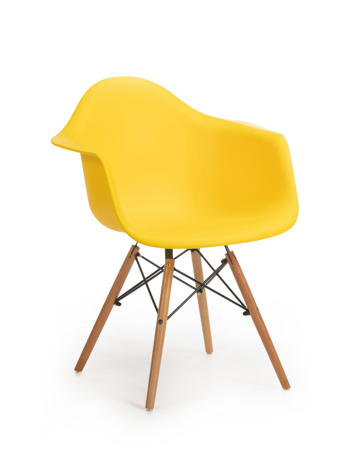 Scaun din plastic cu picioare de lemn Echo Yellow, l64xA60xH81 cm imagine