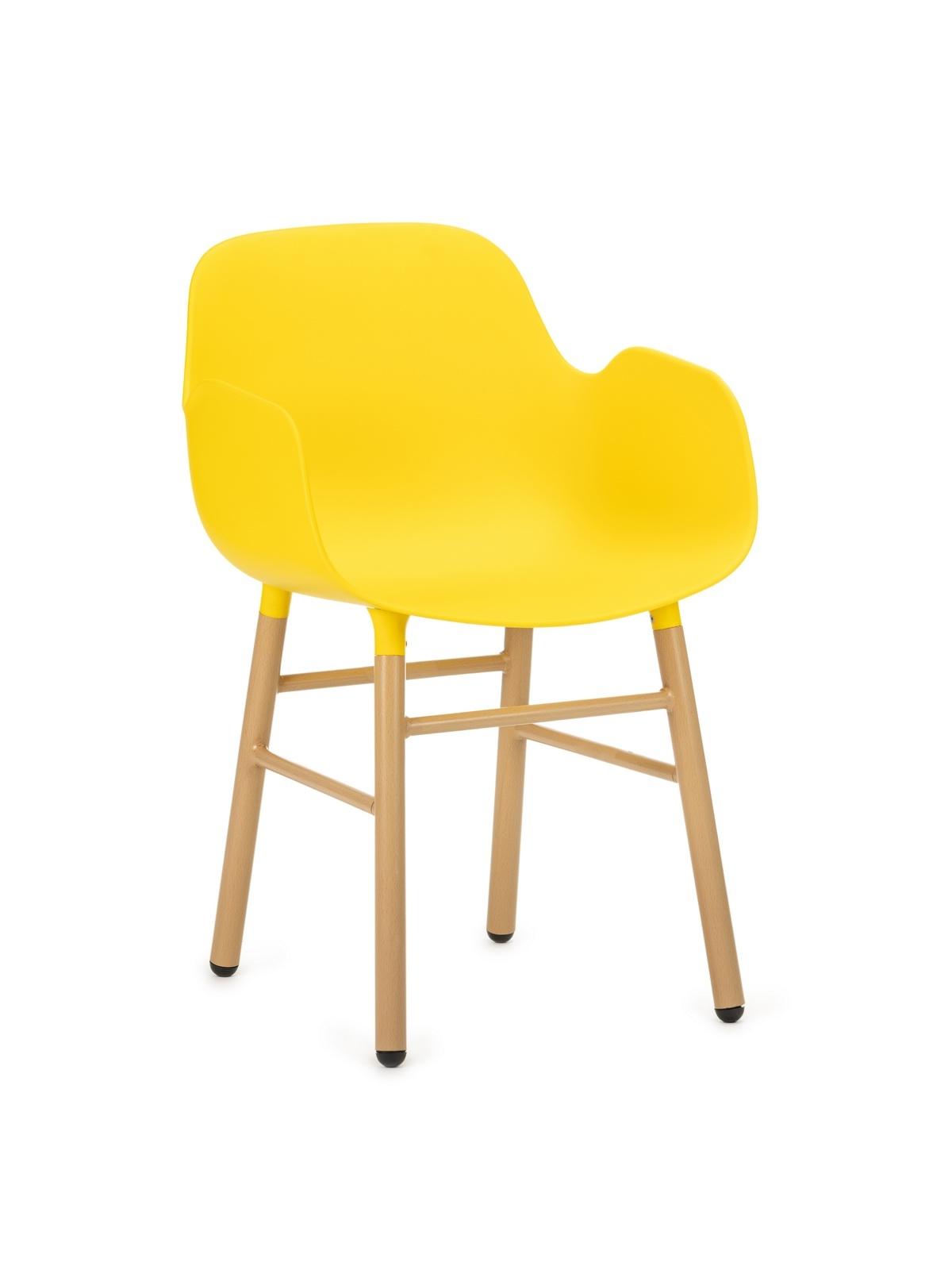 Scaun din plastic cu picioare de lemn Wayne Yellow, l55xA56xH80 cm