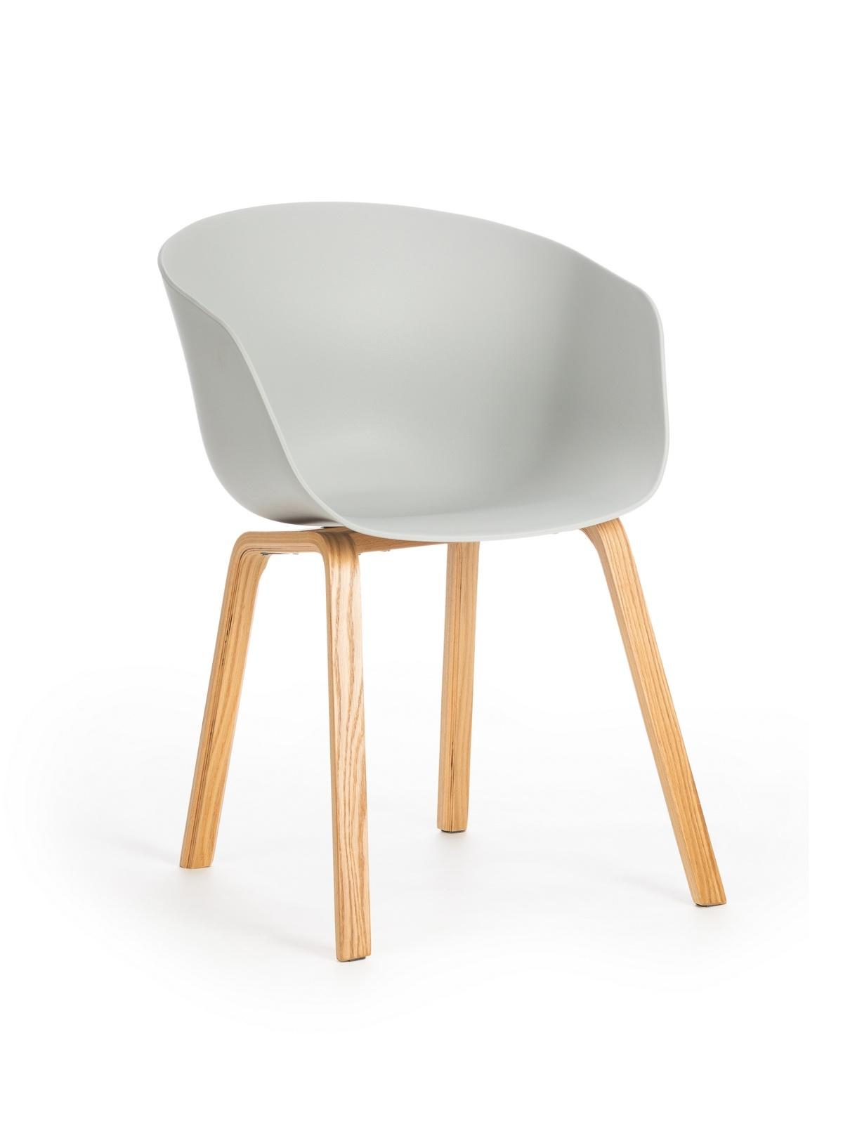 Scaun din plastic cu picioare din lemn Iris Grey, l55xA56xH80 cm