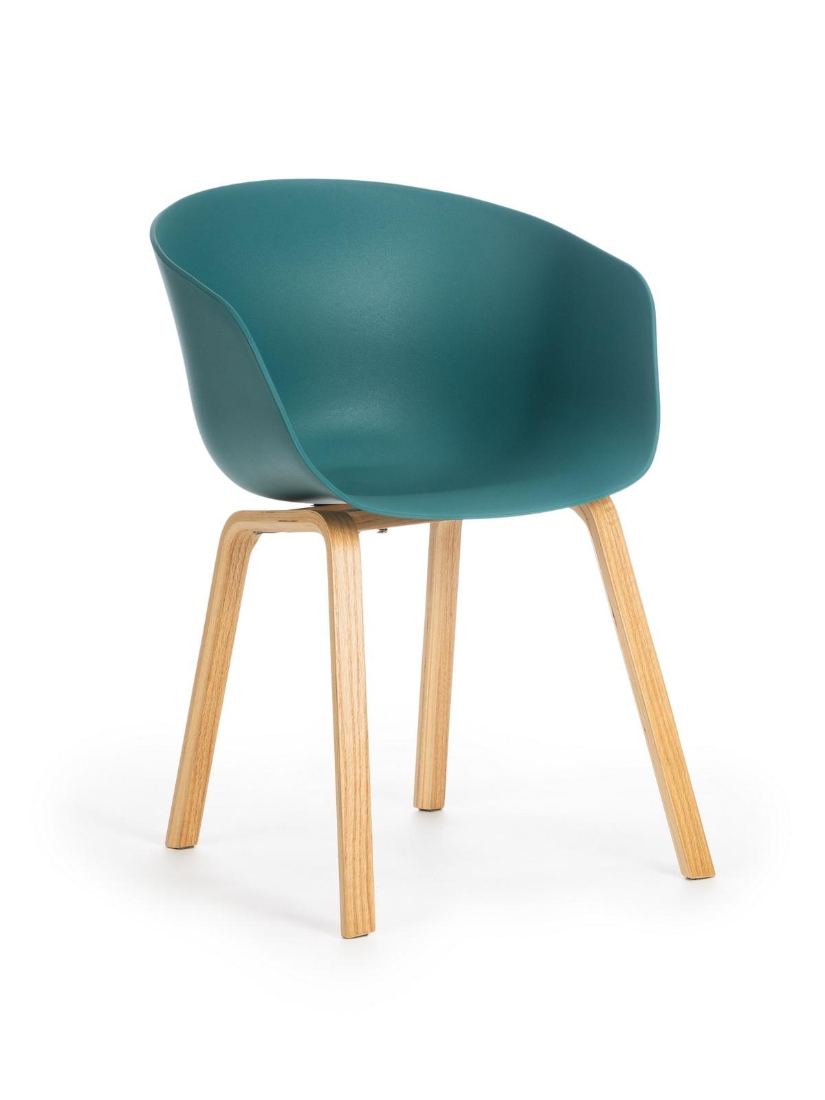 Scaun din plastic cu picioare din lemn Iris Teal, l55xA56xH80 cm