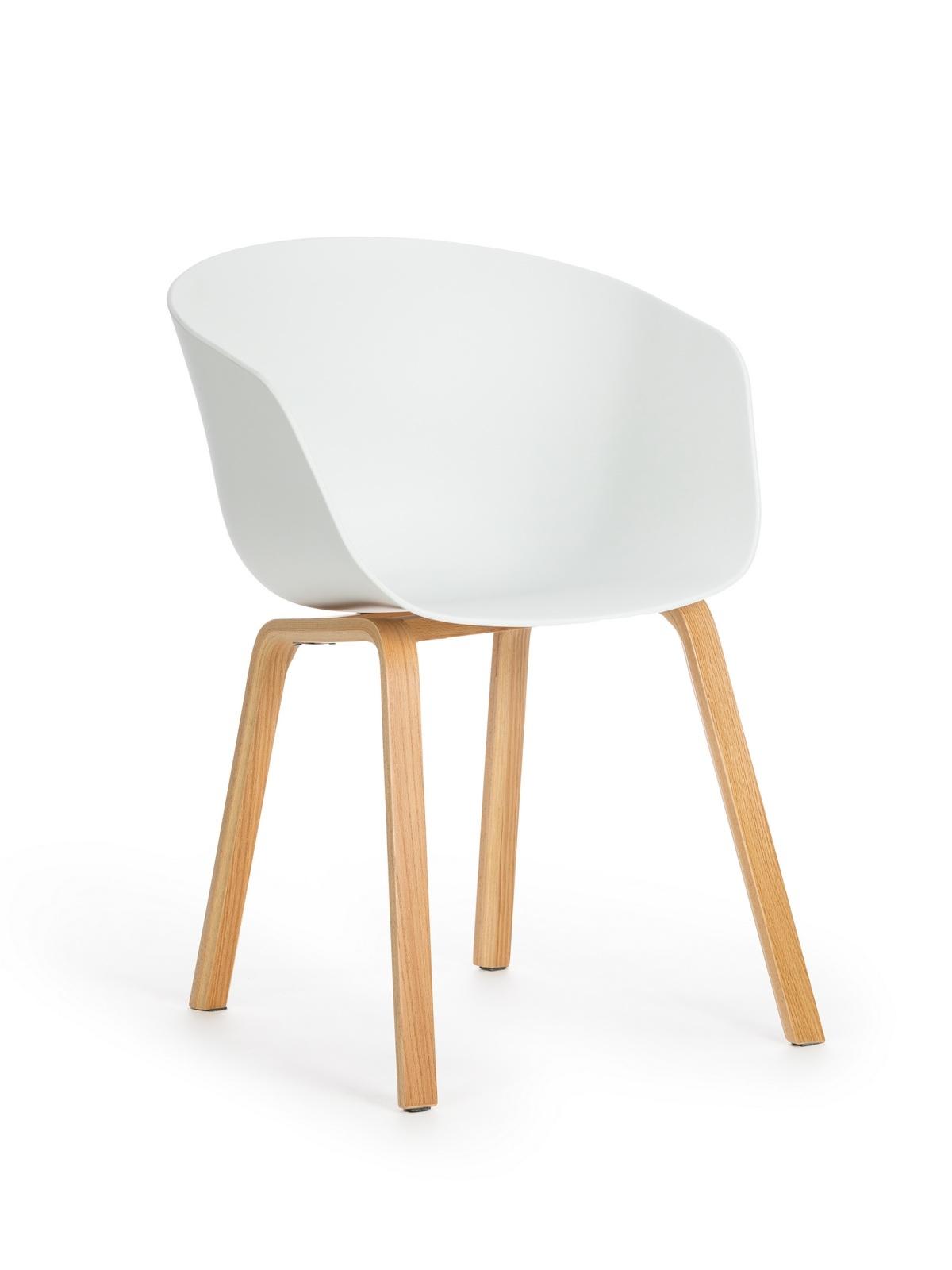 Scaun din plastic cu picioare din lemn Iris White, l55xA56xH80 cm