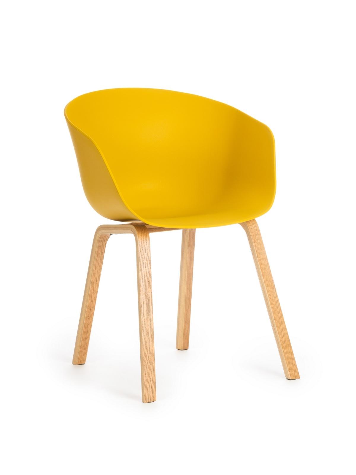 Scaun din plastic cu picioare din lemn Iris Yellow, l55xA56xH80 cm