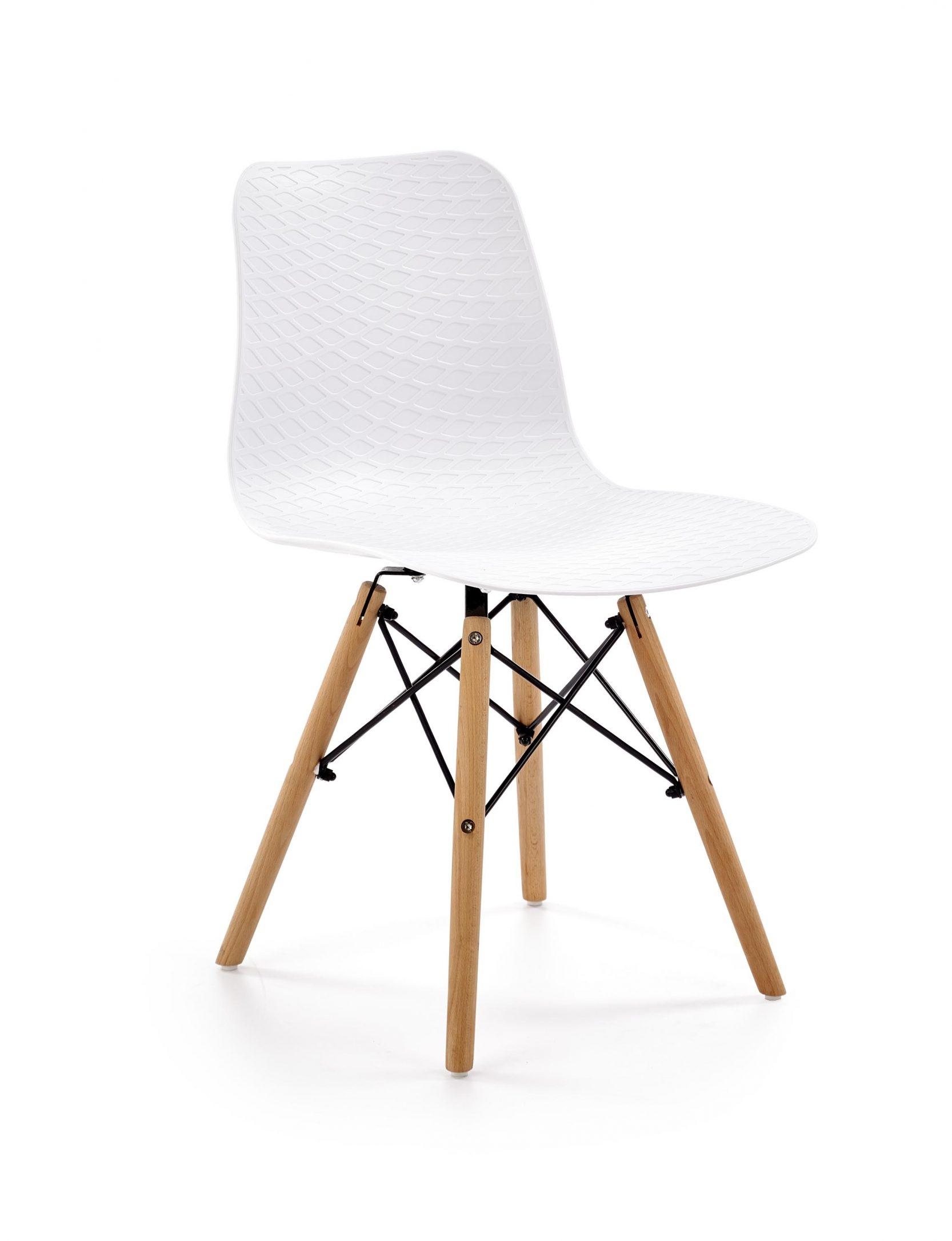 Scaun din plastic cu picioare din lemn K325 Alb / Natural l44xA51xH77 cm