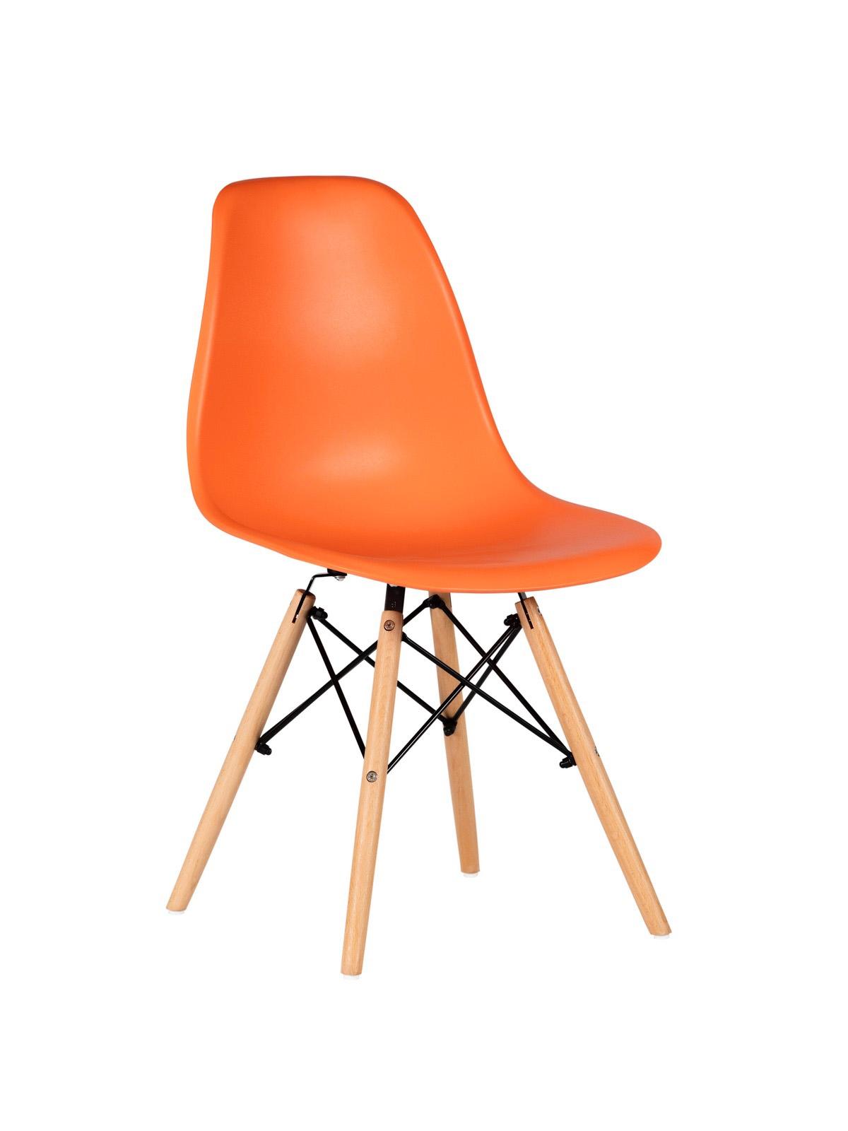 Scaun din plastic cu picioare din lemn Lois Orange, l46xA37xH81 cm imagine