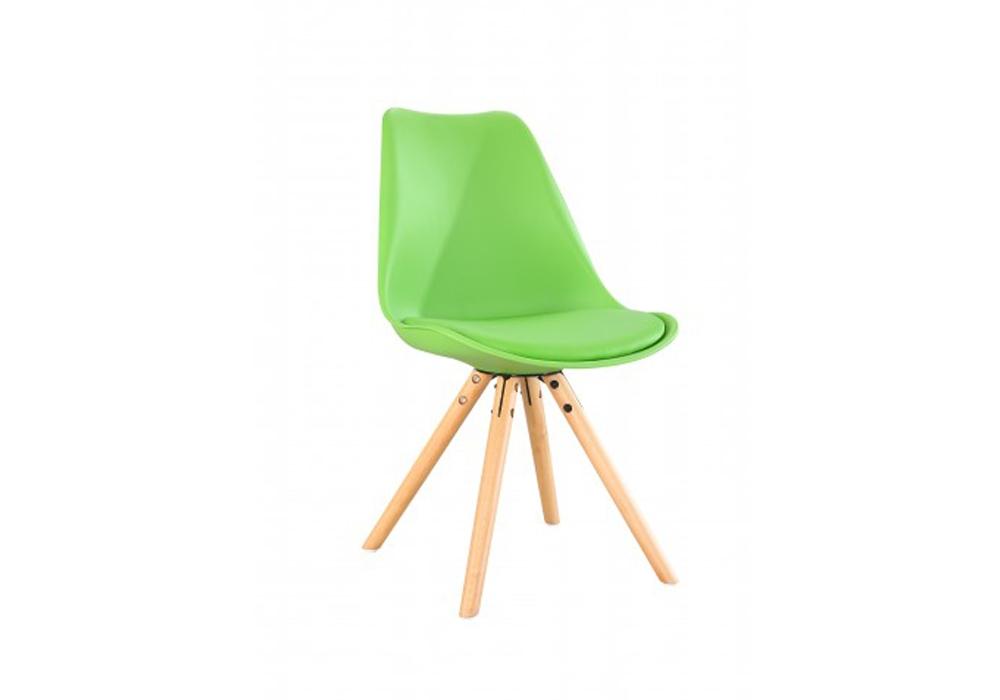 Scaun din plastic cu picioare din lemn si sezut tapitat cu piele ecologica Ice Green l46xA43xH815 cm