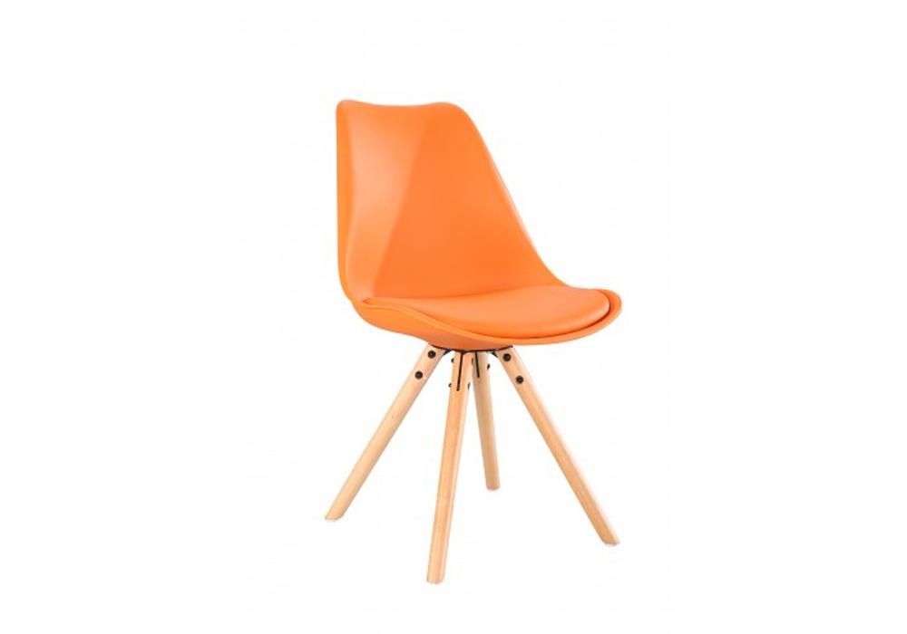 Scaun din plastic cu picioare din lemn si sezut tapitat cu piele ecologica Ice Orange l46xA43xH815 cm