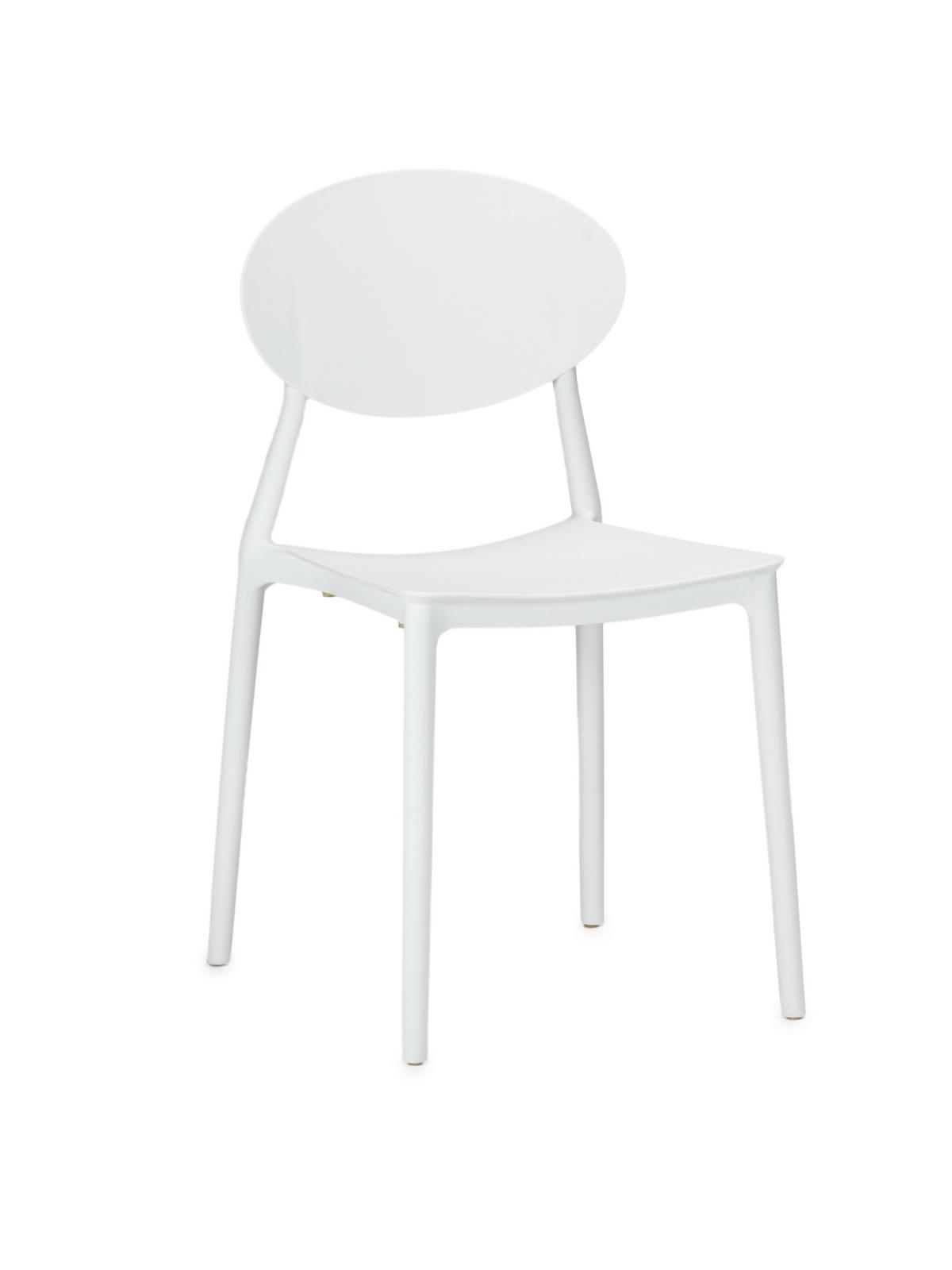 Scaun din plastic, cu picioare din plastic Lolita White, l47xA42xH82cm