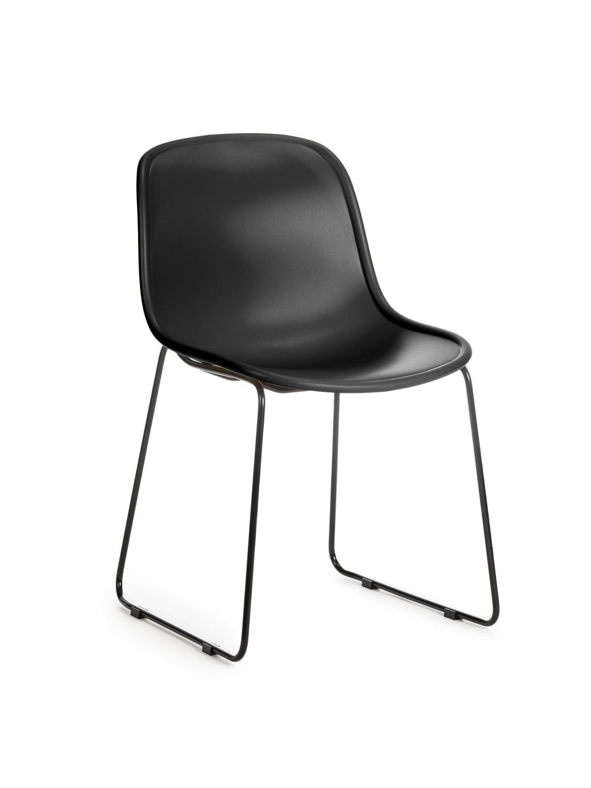 Scaun din plastic, cu picioare metalice Cosmo Black, l57xA54xH78cm poza