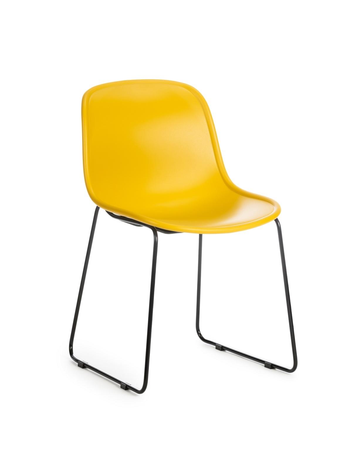 Scaun din plastic, cu picioare metalice Cosmo Yellow, l57xA54xH78cm poza