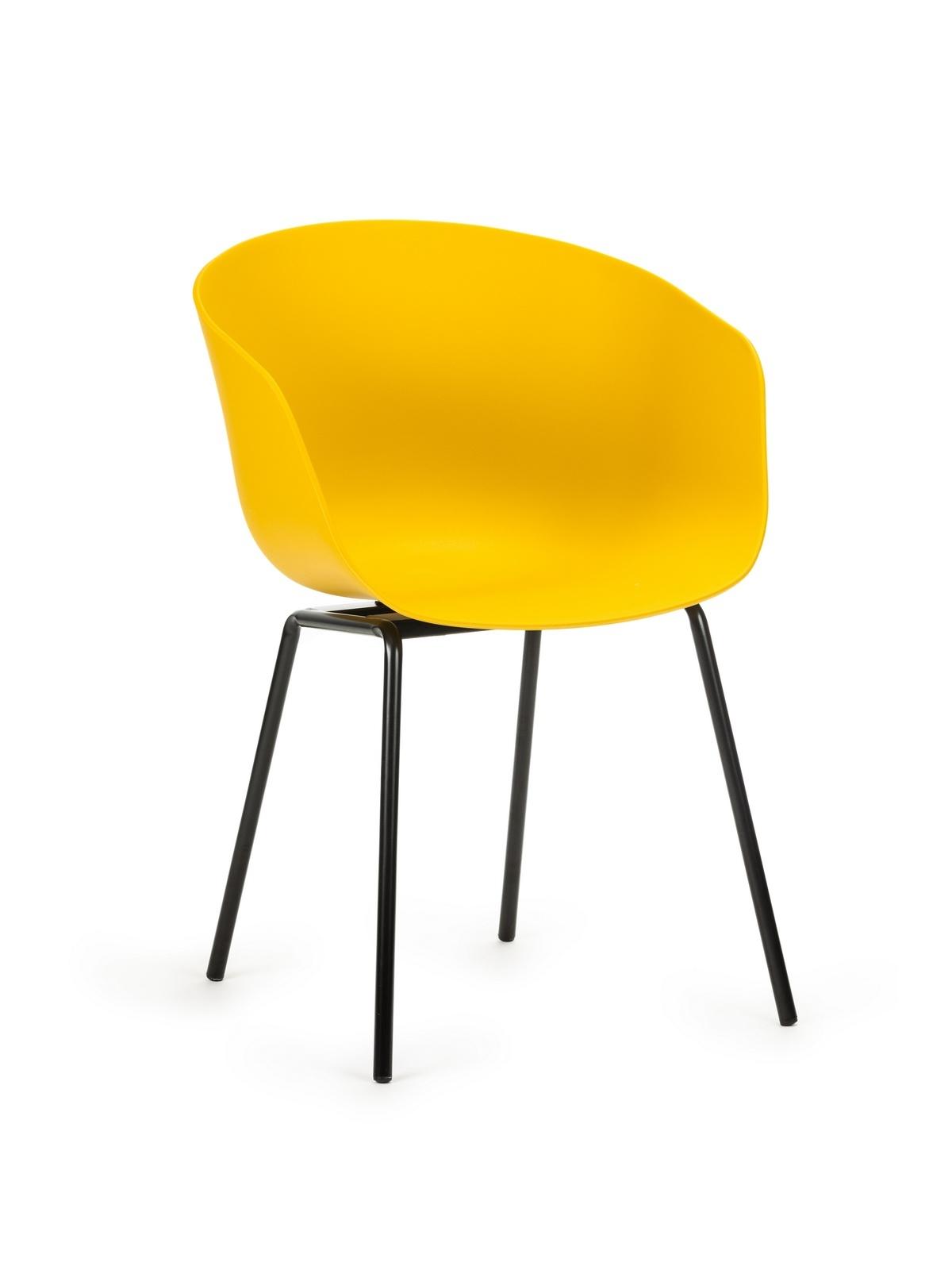 Scaun din plastic, cu picioare metalice Dalida Yellow, l55xA56xH80cm