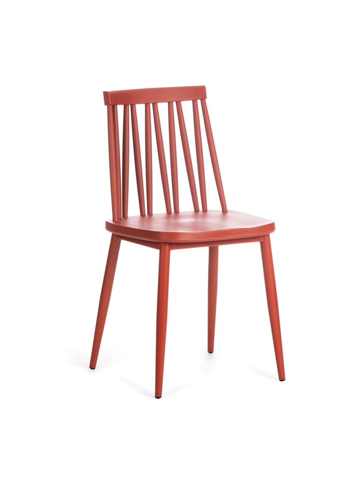 Scaun din plastic, cu picioare metalice Helen Rosu, l43xA46xH81 cm