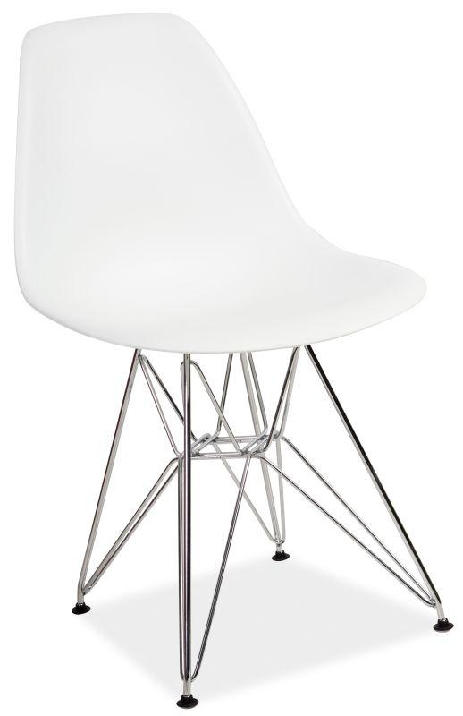 Scaun din plastic, cu picioare metalice Lino Alb, l46xA42xH83 cm