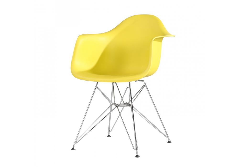 Scaun din plastic cu picioare metalice Tingo Metal Yellow l62xA46xH825 cm