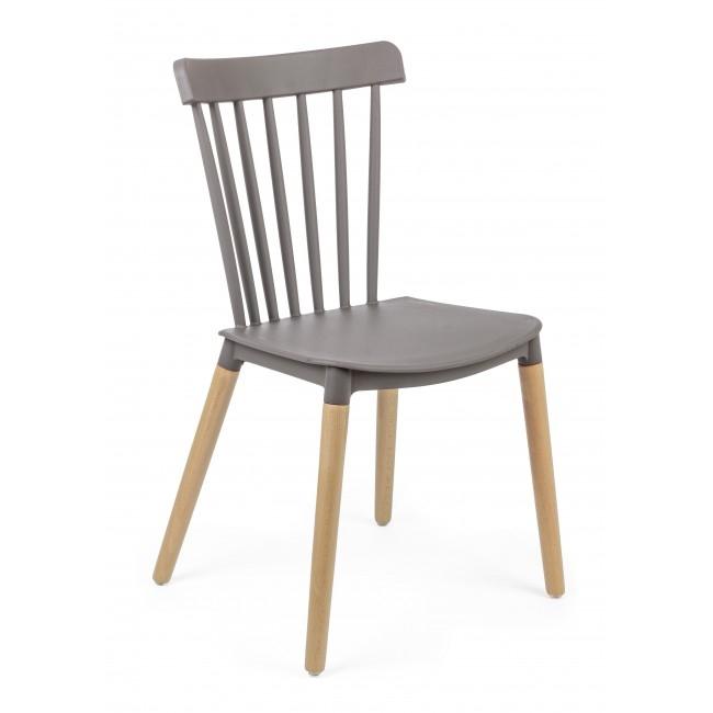 Scaun din plastic cu picioarele din lemn Warren Gri, l50xA43xH83 cm