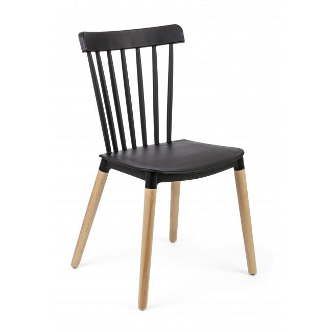 Scaun din plastic cu picioarele din lemn Warren Negru, l50xA43xH83 cm