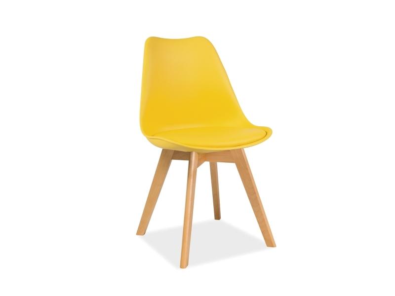 Scaun din plastic cu sezut tapitat cu piele ecologica, cu picioare din lemn Kris Yellow / Beech, l49