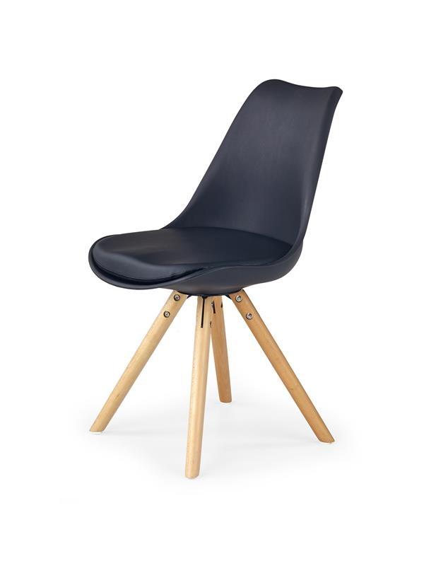 Scaun tapitat cu piele ecologica, cu picioare din lemn K201 Black, l48xA57xH81 cm