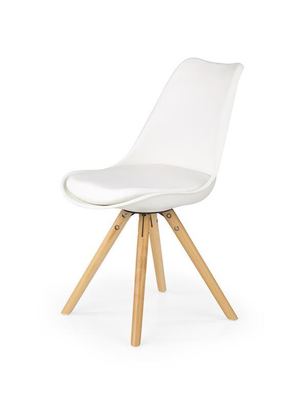 Scaun din plastic cu sezut tapitat cu piele ecologica si picioare de lemn K201 White l48xA57xH81 cm