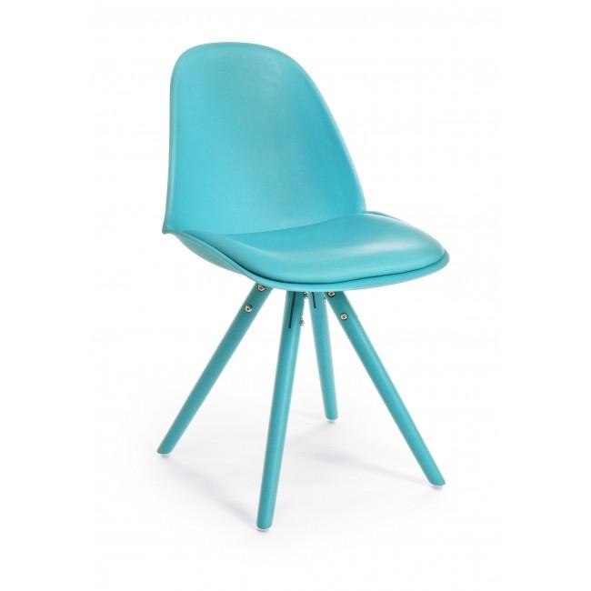 Scaun din plastic cu sezut tapitat cu piele ecologica si picioare din lemn, Chelsea Turcoaz, l52,5xA