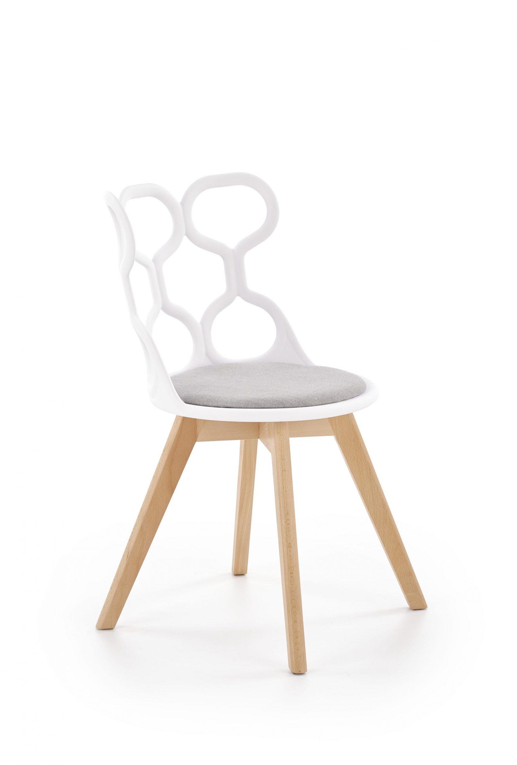 Scaun din plastic, cu sezut tapitat cu stofa si picioare din lemn K308 Alb / Gri / Natural, l43xA50xH80 cm