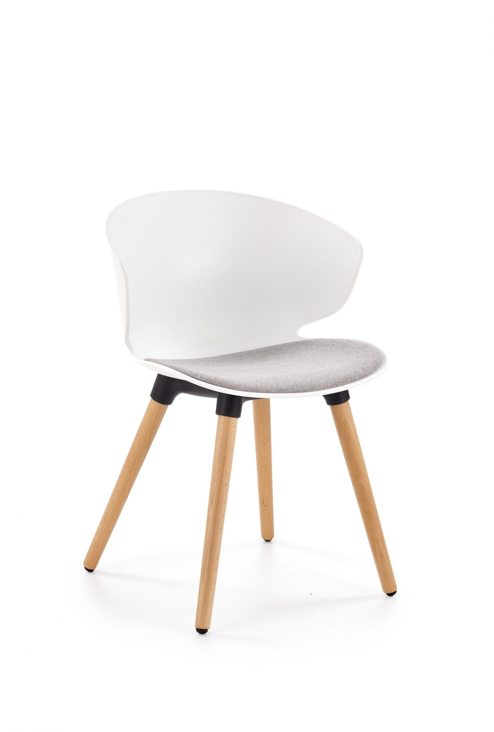 Scaun din plastic, cu sezut tapitat cu stofa si picioare din lemn K324 Alb / Gri / Natural, l55xA52xH75 cm