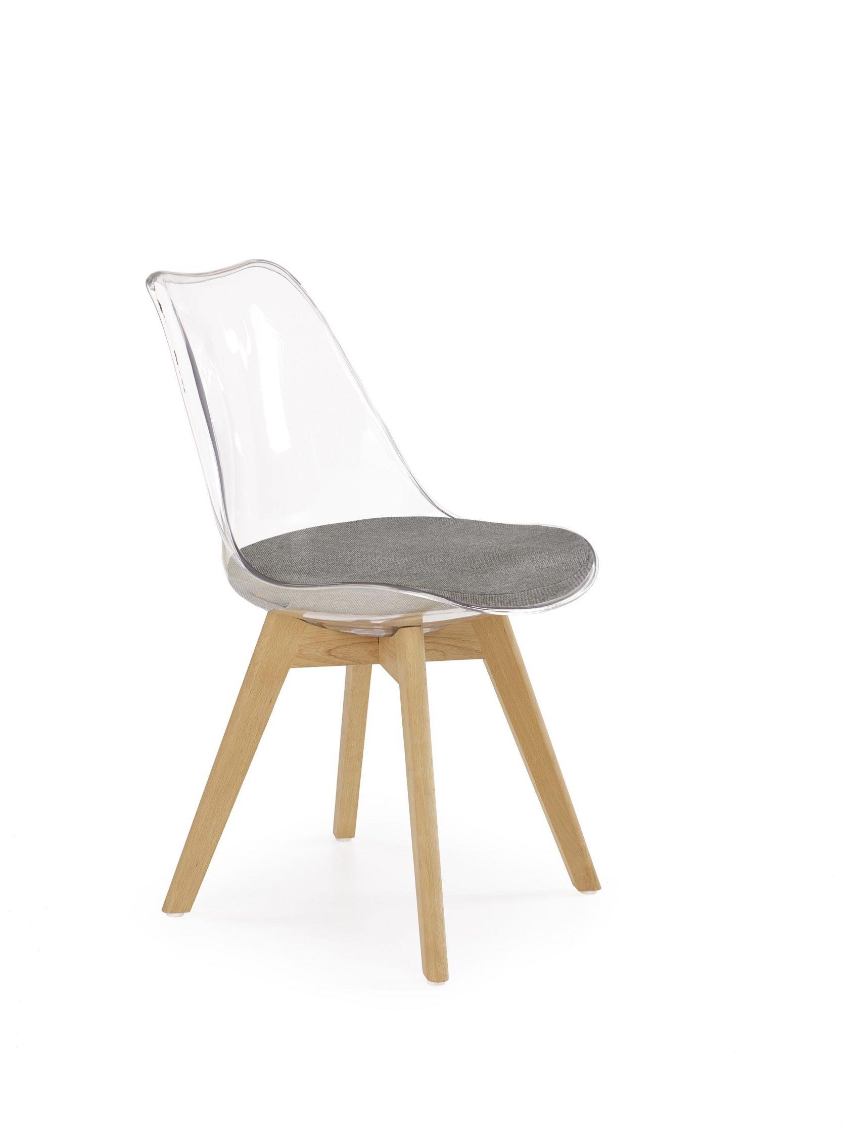 Scaun din plastic, cu sezut tapitat cu stofa si picioare din lemn K342 Transparent / Gri / Fag, l48xA58xH83 cm somproduct.ro
