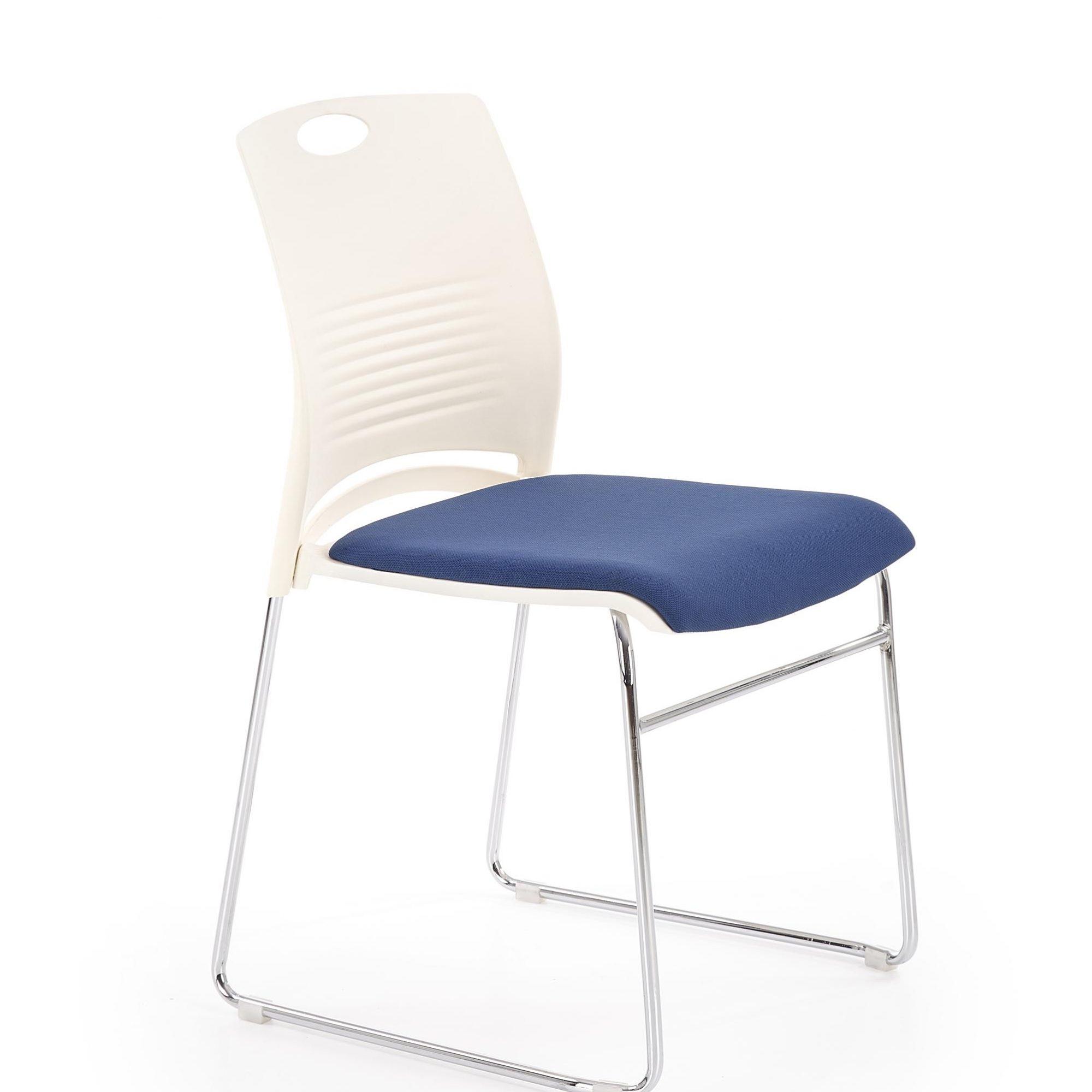 Scaun din plastic, cu sezut tapitat cu stofa si picioare metalice Calis Alb / Albastru, l44xA52xH80 cm