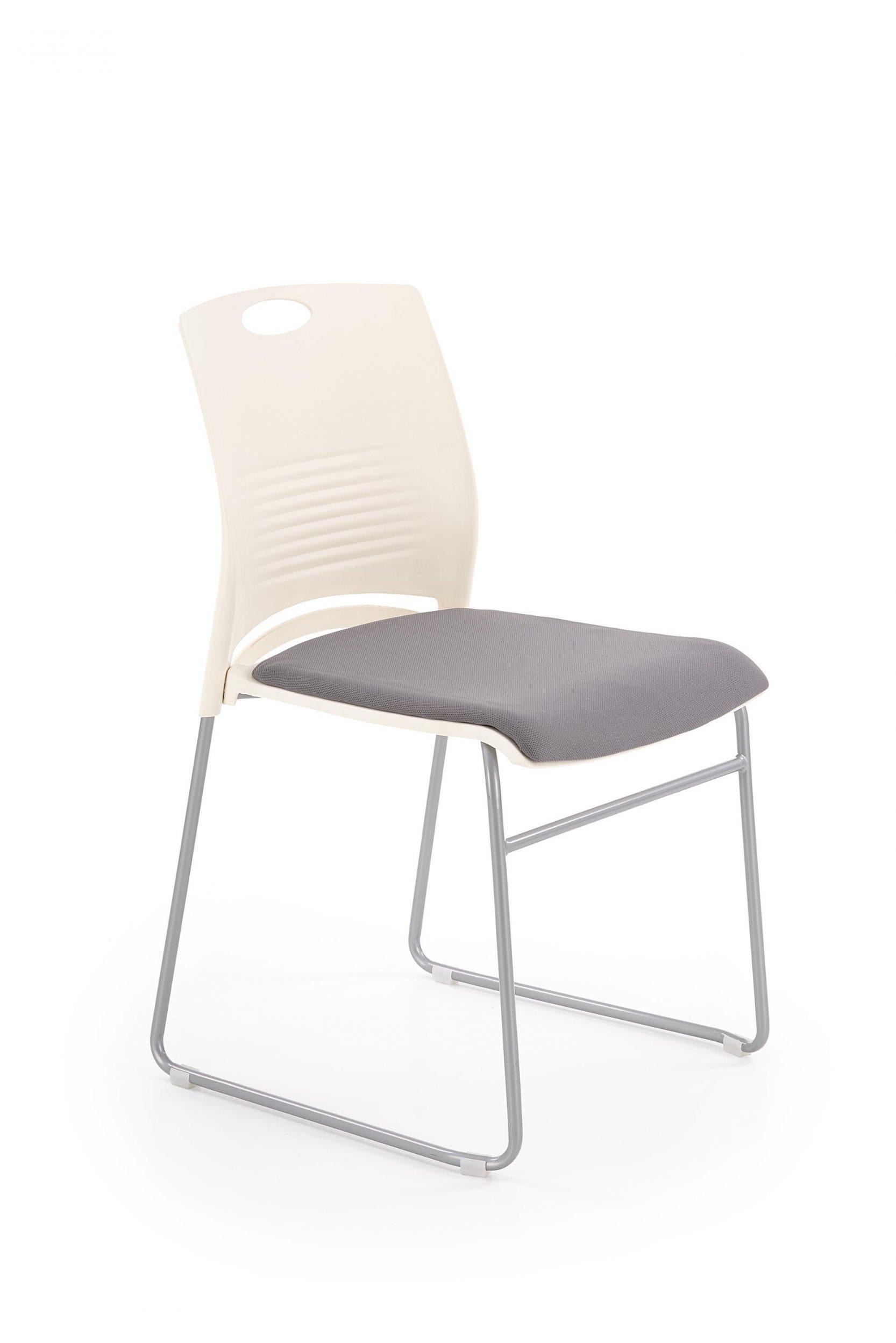 Scaun din plastic, cu sezut tapitat cu stofa si picioare metalice Calis Alb / Gri, l44xA52xH80 cm imagine