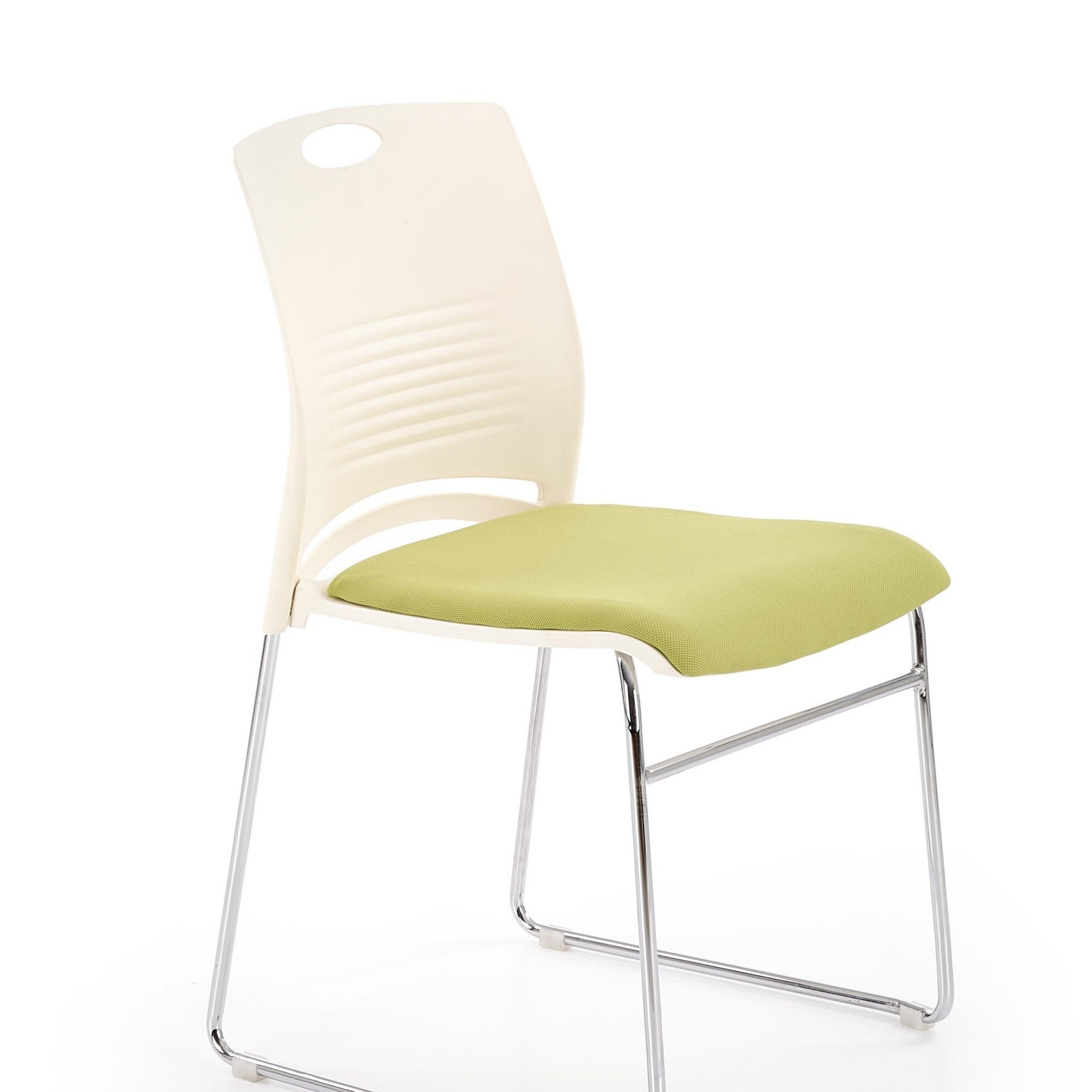 Scaun din plastic, cu sezut tapitat cu stofa si picioare metalice Calis Alb / Verde, l44xA52xH80 cm