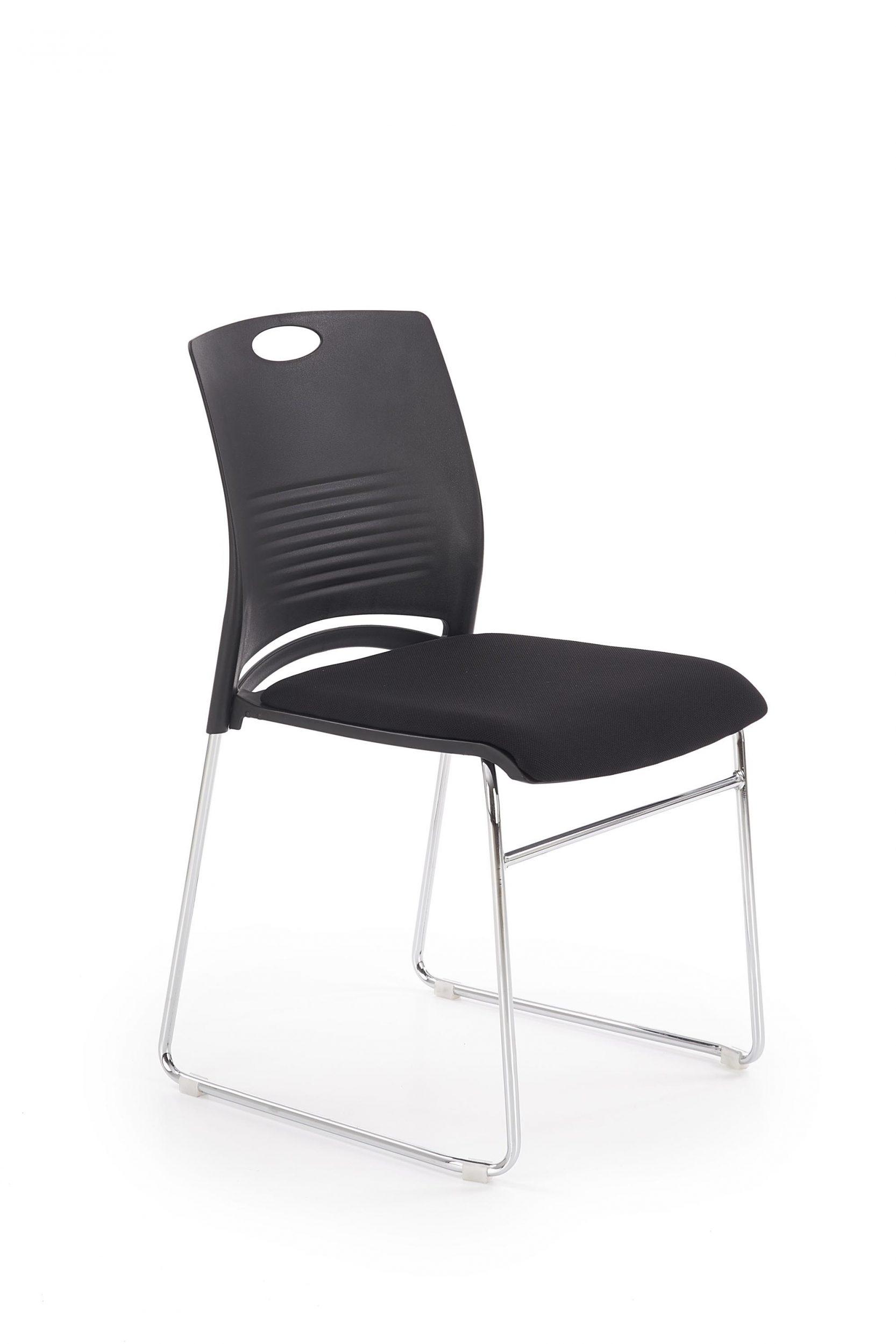 Scaun din plastic, cu sezut tapitat cu stofa si picioare metalice Calis Negru, l44xA52xH80 cm