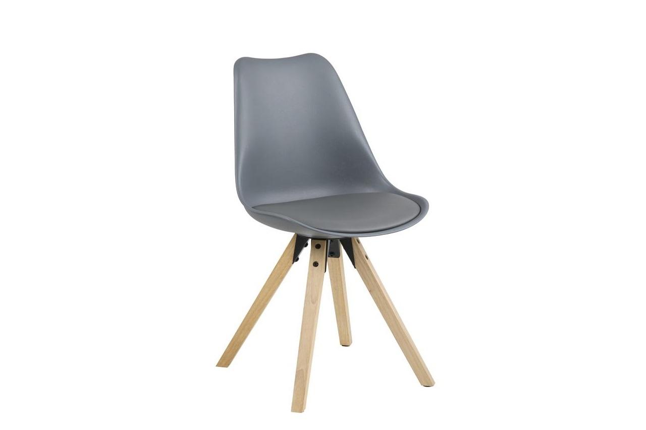 Scaun din plastic, sezut tapitat cu piele ecologica si picioare din lemn Dima Gri / Stejar, l48,5xA55xH85 cm imagine