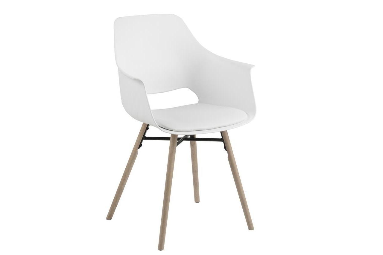 Scaun din plastic, sezut tapitat cu piele ecologica si picioare din lemn Ramona Alb / Stejar, l57xA52,5xH85 cm imagine