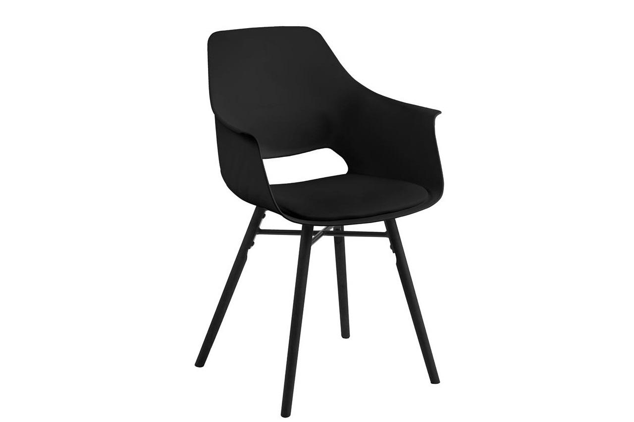 Scaun din plastic, sezut tapitat cu piele ecologica si picioare din lemn Ramona Negru, l57xA52,5xH85 cm